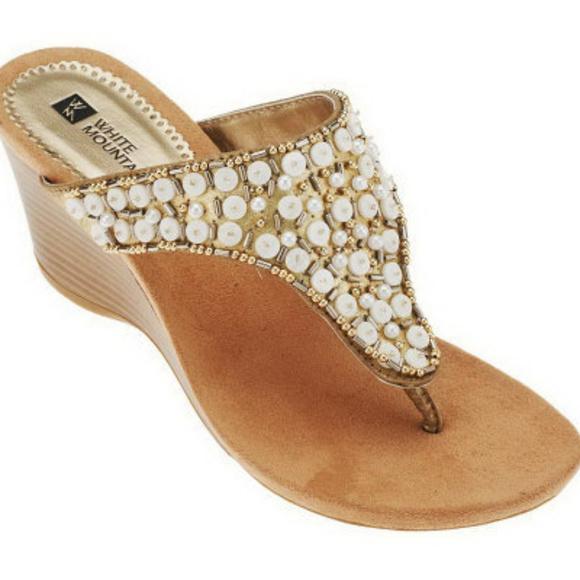 1fc66400e White Mountain Niche Embellished Wedge Sandals. M 5ade320f077b97e15a1ce205